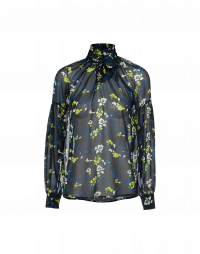 PERCEPTION: Tie-neck shirt in ivory, chartreuse and blue floral georgette