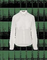 POSSESSIVE: Camicia avorio in georgette e crêpe tecnico