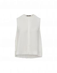 CONCERTINA: Sleeveless top in ivory tech crêpe with full pleated back