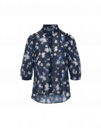COMPANION: 3/4 sleeve shirt in navy floral tech crêpe
