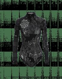 FREQUENCY: Body in maglia tecnica grigio e bianco