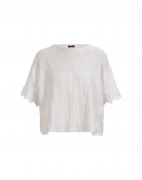 DEMURE: White seamless knit top with lace