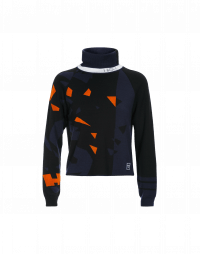 TRANSGRESS: Navy, black and orange funnel neck sweater