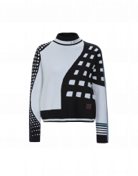 MIDWAY: Navy, white and blue graphic technical knit