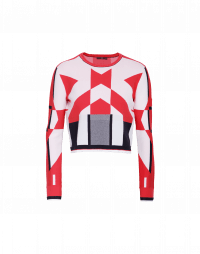 RHYTHMIC: Sweater in ivory, red and navy geometric tech knit