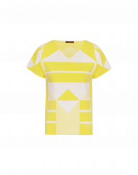 SYNERGY: Yellow and white geometric pattern tech-knit t-shirt