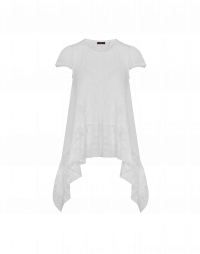 ROTATE: Ivory seamless knit t-shirt with lace hem