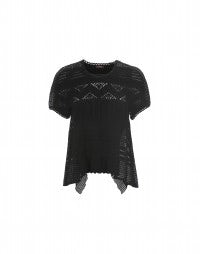 LOOSE: Black tech lace and crochet flared top