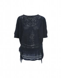 DOILY: Dark blue fringed batwing sleeve top