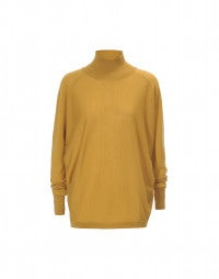 ARDENT: Mustard super wide extra high roll neck