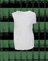 LIAISON: Top con drappeggio asimmetrico avorio