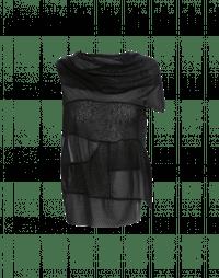 LIAISON: Top nero con drappeggio asimmetrico