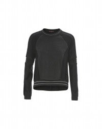 FULCRUM: Black and grey pinstripe and fleece sweatshirt