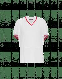 BELONG: T-shirt bianca con scollatura a V e stampa posteriore