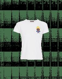 VOW: T-shirt in jersey tecnico bianco con applicazione frontale