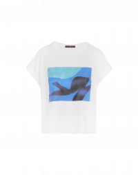 PANORAMA: T-shirt with blue and black abstract art
