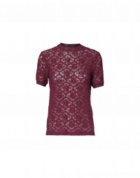 SOLACE: Burgundy red tech lace t-shirt