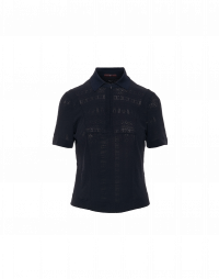 FREESTYLE: Navy polo style t-shirt in light tech stretch lace