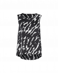 CUE: A-line tank with black brush-stroke print