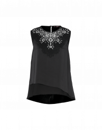 RADIATE: Satin sleeveless top with crochet lace yoke