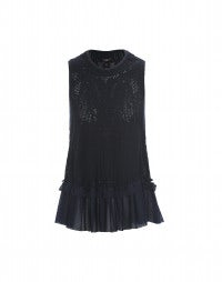 FLAWLESS: Navy blue feminine sporty frill top