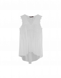IN-ORDER: Sleeveless top in ivory tech crochet lace and georgette