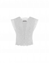 SOMEHOW: Sleeveless top in ivory lace and georgette