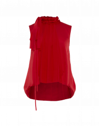 GLAMOUR: A-line top in red tech satin with ruffle collar