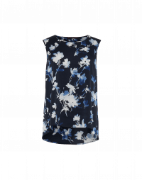 CUE: A-line tank in navy and blue floral print