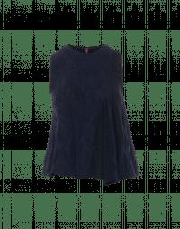 PLENTY: Top in maglia tecnica navy con inserti in pizzo