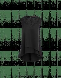 RADIATE: Satin sleeveless top with crochet lace yoke