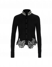 MORALITY: Textured jersey and lace cardigan
