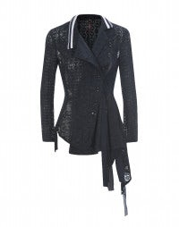 OVERJOYED: Navy blue lace and ribbons cardigan