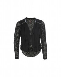 ADMIT: Tech Lace and jersey zip front cardigan