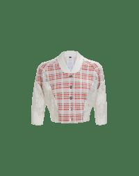 BOMB: Cardigan corto in jersey scozzese e pizzo