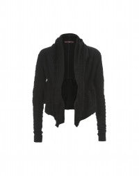 PROMENADE: Black brocade knit shawl collar bolero