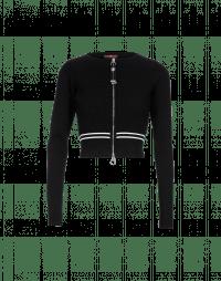 BOOST: Cardigan corto in maglia nera con zip frontale