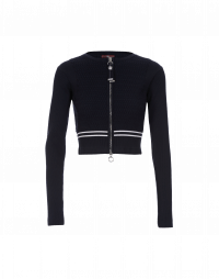 BOOST: Navy with stripe short zip-front cardigan