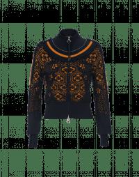 DIVERSE: Zip front cardigan with ruffle yoke