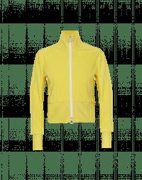 CONCEPTUAL: Cardigan giallo con zip in maglia tecnica