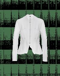 CONFIDE: White zip front cardigan jacket