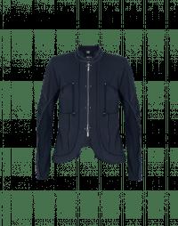 CONFIDE: Giacca-cardigan blu navy con zip frontale