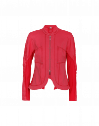 CONFIDE: Giacca-cardigan rossa con zip frontale