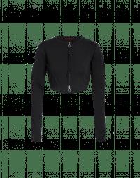 HALF-TIME: Cardigan nero corto e aderente in maglia tecnica