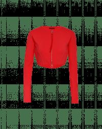 HALF-TIME: Cardigan rosso corto e aderente in maglia tecnica