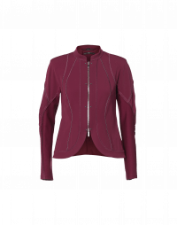 CONFIDE: Burgundy red zip front cardigan jacket
