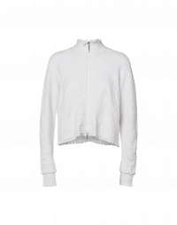OVERTONE: White zip front high neck cardigan