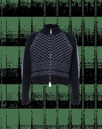 SYNTHESIS: Cardigan con zip in maglia blu navy e avorio