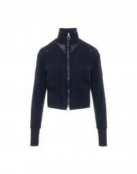 CONCEPTUAL: Cardigan jacket in navy geometric and floral knit