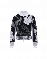 PORTRAYAL: Cardigan in black and cream 3D floral tech knit
